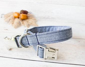 Fall Dog Collar- Autumn Dog Collar- Herringbone Dog Collar- Navy Dog Collar - Fall Dog Accessories- Special Occasion - Wedding Dog Collar