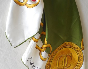 "Retro Oleg Cassini Signed Silk Scarf Hand Rolled Hem With OC Gold Chain Emblem Red Green on White 26""x26"" Womens Fashion Accessory Wrap"