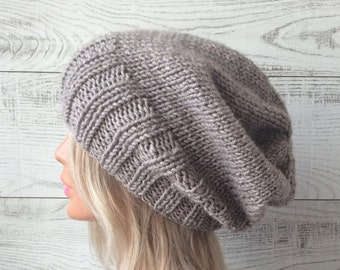 Knit hat mens knit hat womens hat wool knit hat slouchy knit hat knit beanie