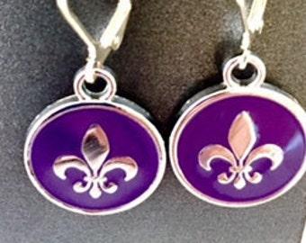 purple fleur de lis earrings