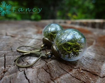 Green moss earrings Living plant jewelry Bohemian style jewelry Boho chic earrings real plant earrings botanical jewelry real flower jewelry