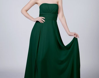 Matchimony Forest Green Strapless Long Bridesmaid/Prom Dress