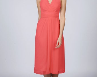 Coral Halterneck Short Bridesmaid Dress by Matchimony