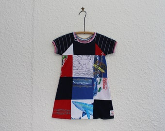 Girls Dress, Kid's Size 5 Dress, Patchwork Tshirt Dress, Recycled T Shirt Dress, Upcycled Tshirt Dress, Raglan Sleeve Dress, Child's Dress