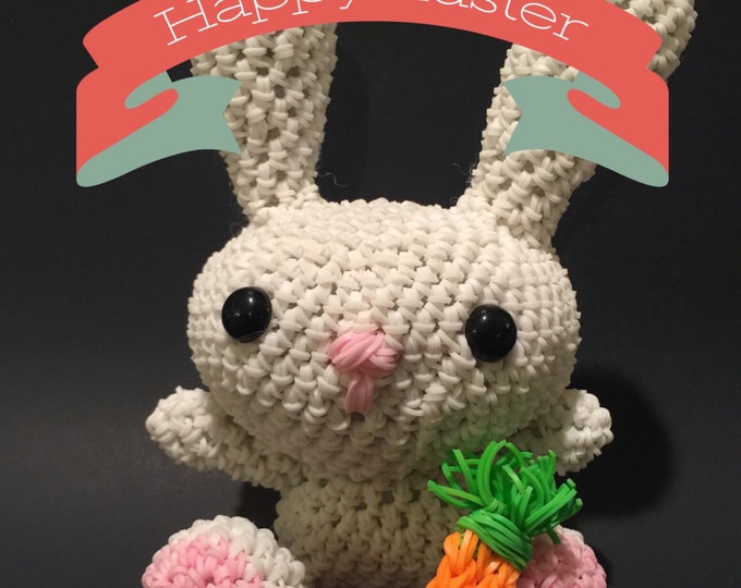 Spring Bunny Rabbit Rubber Band Figure, Rainbow Loom Loomigurumi, Rainbow Loom Animal
