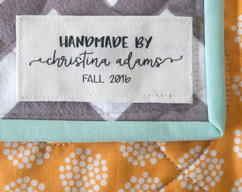 personalized label, quilt tag, custom quilt label, sewing label, quilting label, patch, handmade label, fabric label, blanket label - K1