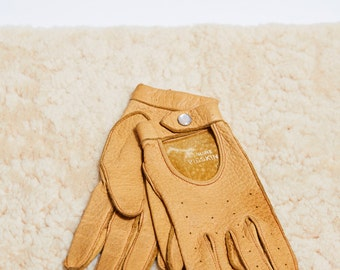 50s Paris Tan Punched Pigskin Driving Gloves • XS