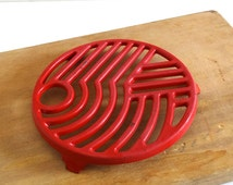 French Vintage Red Enamel Trivet