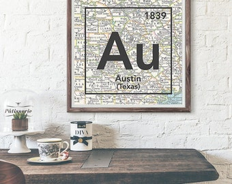 Austin Texas Vintage retro Periodic Map UNFRAMED ART PRINT poster wall home decor housewarming Christmas gift for family, All sizes