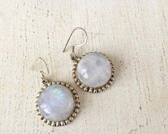 Beautiful Silver Plated Moonstone Glass Dangle Earrings