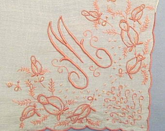 White Linen Handkerchief, Ornate Monogram M with Pink Embroidery