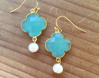 Aqua Clover and Pearl Earrings
