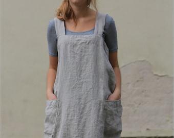 Linen pinafore / Pinafore dress / Square cross linen apron / Japanese apron / Washed long apron / loose linen tunic