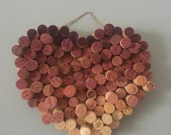 Hanging Ombre Wine Cork Heart