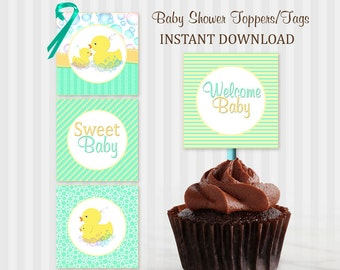 Duck Cupcake topper, Baby shower printable, Duck baby shower, Baby Shower, Duck, Green, Brown, Rubber Duck Baby Shower, Rubber Ducky