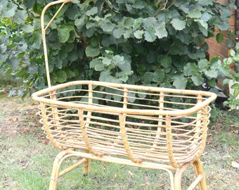 rattan/wicker, cradle, vintage baby bed