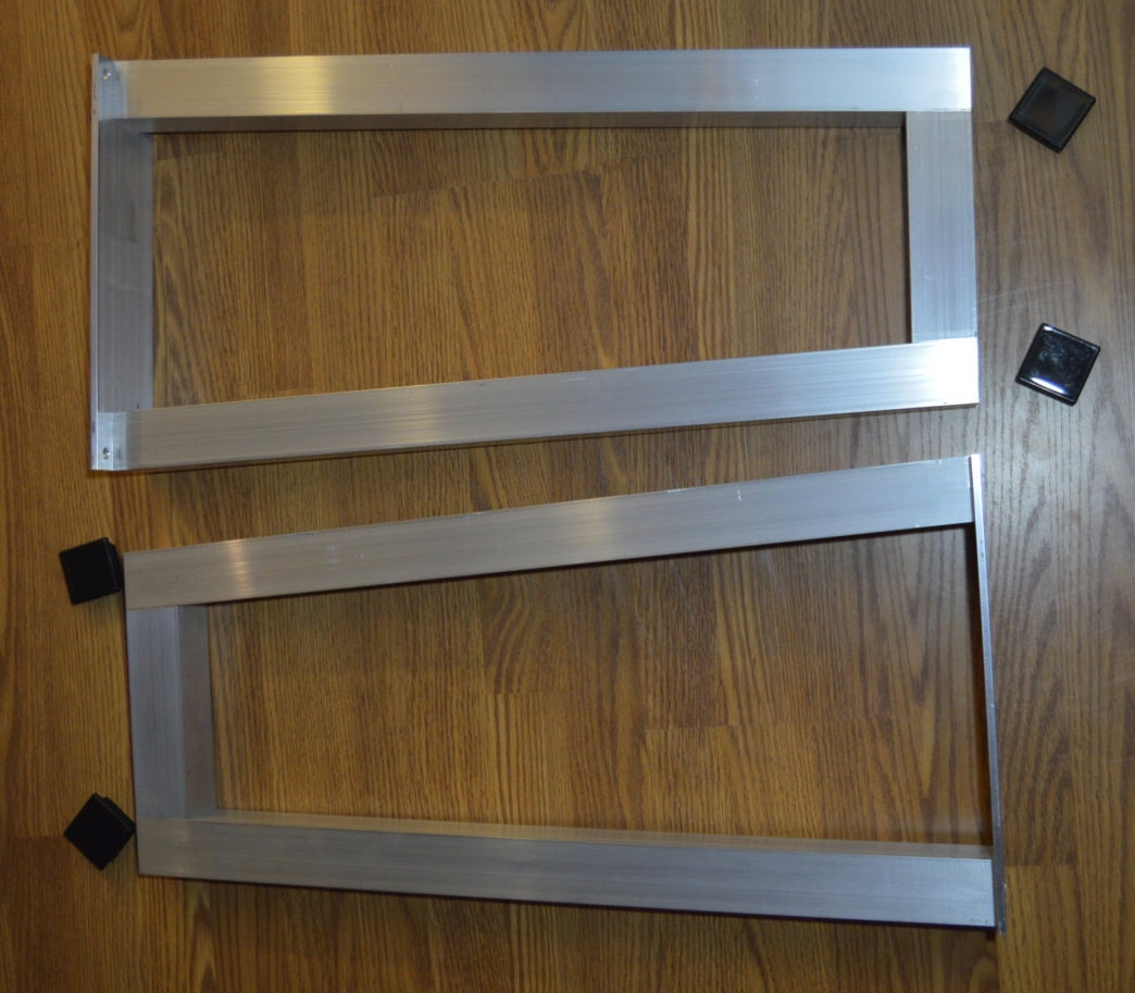 The best metal table legs 2 square set of 2 angled for Square iron table legs