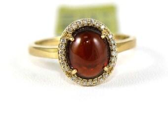 Oval Cabochon Red Garnet Gemstone & Diamond Lady's Ring 14k Yellow Gold 2.52Ct