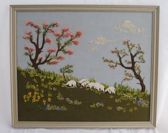 Grazing Lamb Needlepoint framed art