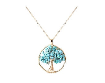 Gold necklace  Turquoise Tree Of Life Necklace