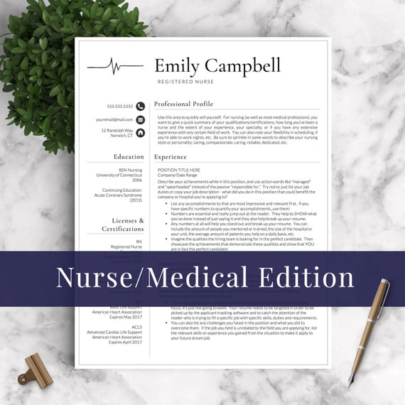 Resume Example For Registered Nurse Position: Nurse Resume Template For Word & Pages 1 2 By