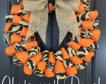 Fall Welcome Door Wreath -  Rustic Country Shabby Chic Thanksgiving Fall Autumn Harvest Halloween