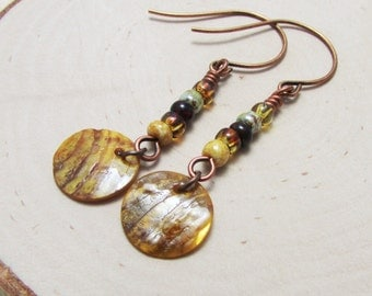 Rustic Seed Beads and a Shell Charm with Antique Copper Earrings