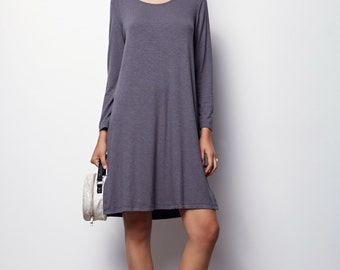 Gray dress long sleeves, dress with sleeves For Women, Fall oversize  dress, Casuel Drees-Olivia - Size M,L