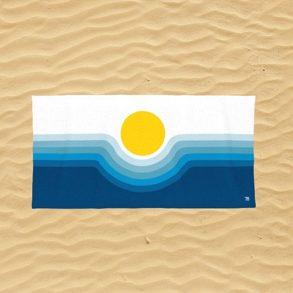 Retro Beach Towel Retro Beach Art Pop Art Beach Towel Modern Beach towel Ocean Sunrise Shore House Towel