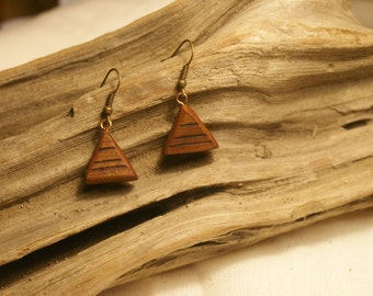 Redwood Triangle Earrings