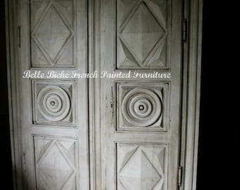 SOLD  OUT Large 'Rough Luxe' French Armoire  Wardrobe -  Ideal Linen / Larder Piece