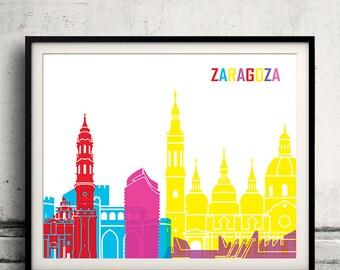 Zaragoza pop art skyline 8x10 in. to 12x16 in. Fine Art Print Glicee Poster Gift Illustration Pop Art Colorful Landmarks - SKU 1038