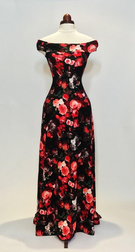 Maxi dress summer dress floral dress red and coral dress for Summer maxi dresses weddings