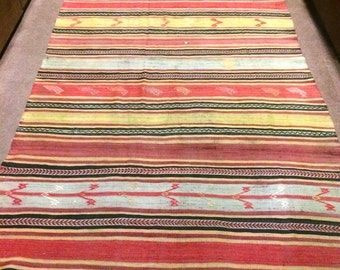 Vintage Turkish Cicim Kilim Rug  / 8'3'' x 4'7'' ft  / 2.50 x 1.39 mt