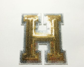 Alphabet Letter H Iron on Patch - Gold Sequin H, Glitter Applique Embroidered Iron on Patch - Size 6.3x7.4 cm#T2