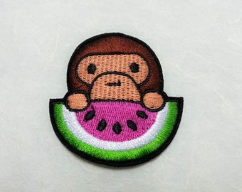 Monkey Iron on Patch(M) - Monkey Applique Embroidered Iron on Patch- Size 5.7x6.3 cm