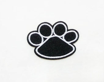 Bear Foot Print Iron on Patch (M) - Bear Foot Print Applique Embroidered Iron on Patch - Size 5.2x4.0 cm