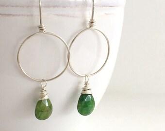 Green Emerald Earrings, Sterling Silver Hoops Emerald Dangle Earrings, Handmade Hoops Jewelry, Wire Wrapped Earrings