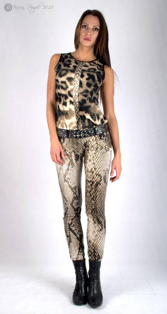 Overall - Snake Dress / Seasonless Jumpsuit Dress / Stretch Dress  / Street Style Dress / Sleeveless / KARIN # 82-008-01-000-12