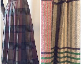 David Brooks Ltd Plaid Pleated 100% Wool Skirt