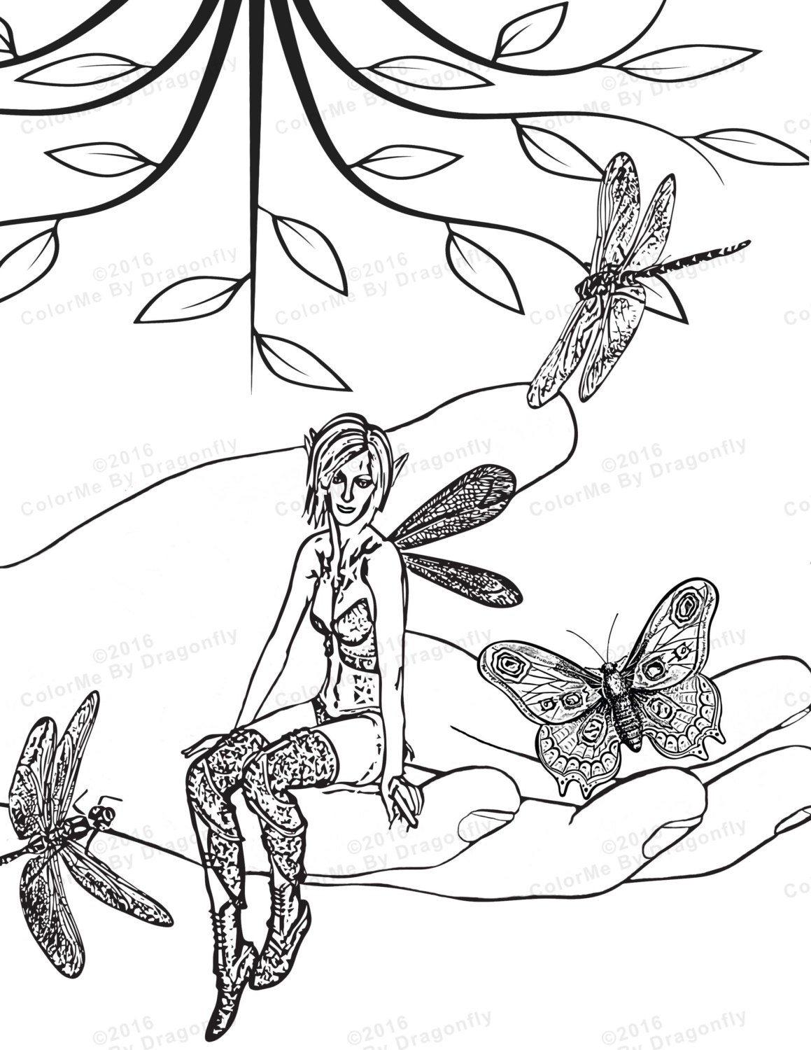 woodland fairy coloring page fairy wings fairy fantasy. Black Bedroom Furniture Sets. Home Design Ideas