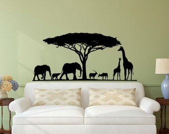 Safari Wall Decal  Animal Wall Decal Stickers Safari Nursery Decor  Jungle Wall  Decal