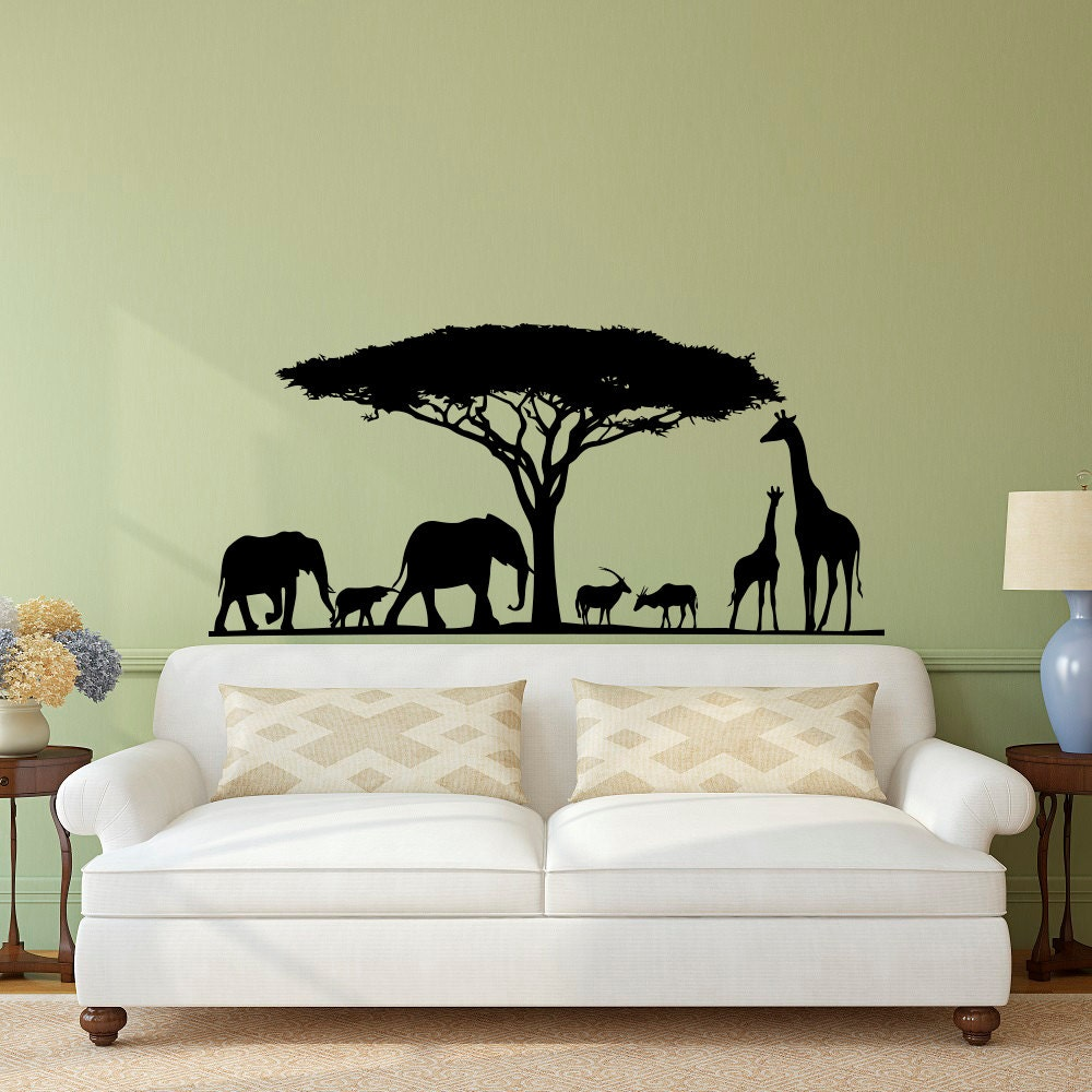 safari wall decal animal wall decal stickers safari nursery. Black Bedroom Furniture Sets. Home Design Ideas