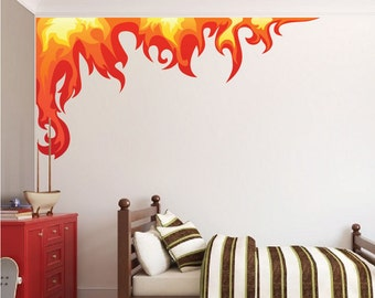 Boys Room Flame Wall Decals Stickers Kids Room Fire Flames Murals Kids' Room Wall Graphics, Flame Wall Art Stickers, Flame Wall Art, n26