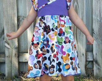 I spy Hazelbee crossover dress made with mouse princess and characters  fabric