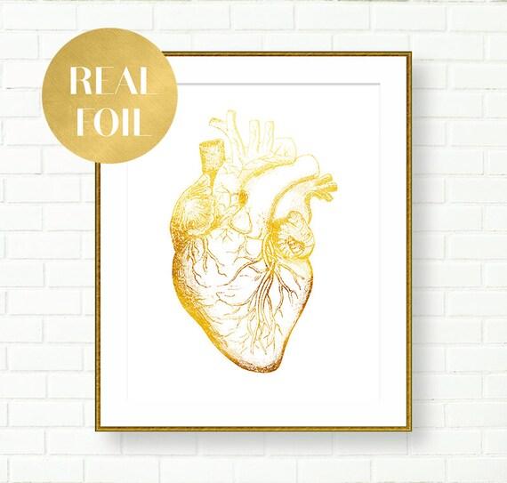 Gold Foil Heart Anatomical Art Human Heart Poster Gold Wall
