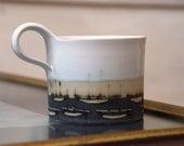 Stoneware Pottery mug, Coffee Mug, Hand painted mug, Pottery mug with boats, White and blue mug, Vintage mug, Ceramics and Pottery