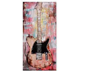 PRINT guitar painting, abstract electric Fender Telecaster Guitar