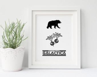 The Office TV Show DIGITAL Poster- Bears, Beets, Battlestar Galactica, Dwight Schrute, Jim Halpert, Michael Scott, Office Art, Gift for Him