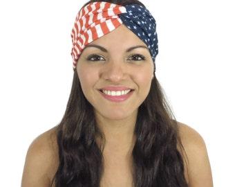 July 4th Headband American Flag Yoga Headband Twist Headband Red Blue And White Fitness Headband Women Turban Boho Headband Knot Headband